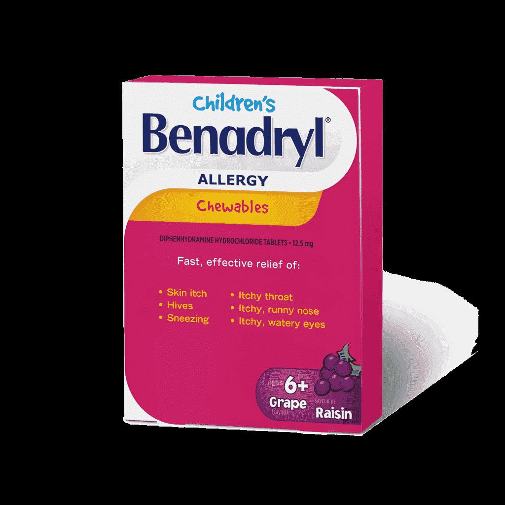 Benadryl's Children's Allergy Cheweable Tablets - Grape Flavour