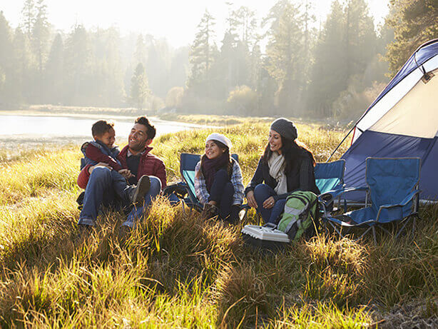 A family on a camping trip